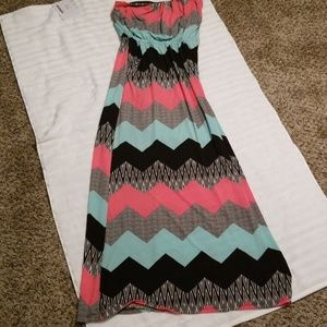Gently used strapless long dress